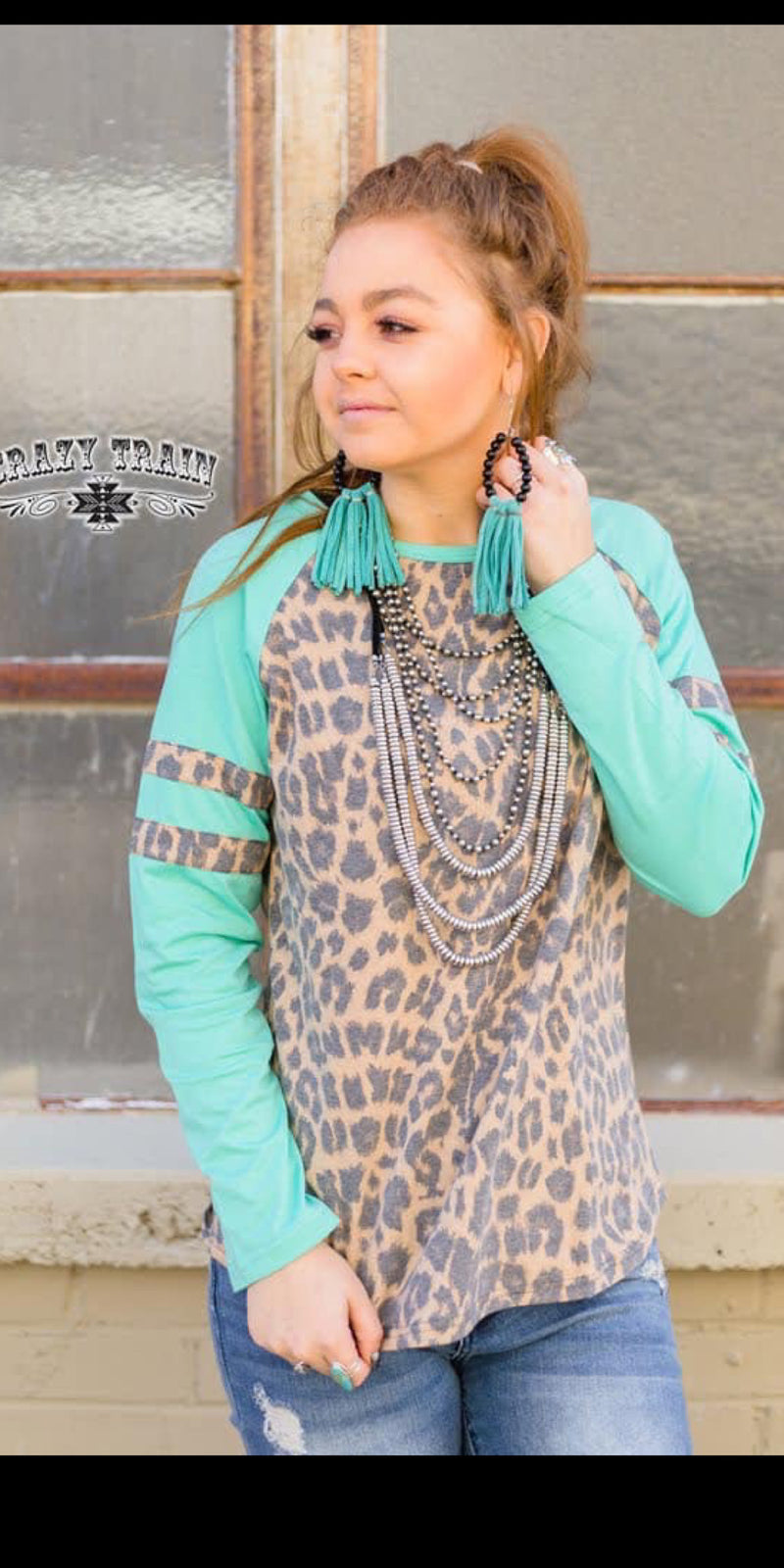Mineral Wells Turquoise Leopard Top - Also in Plus Size