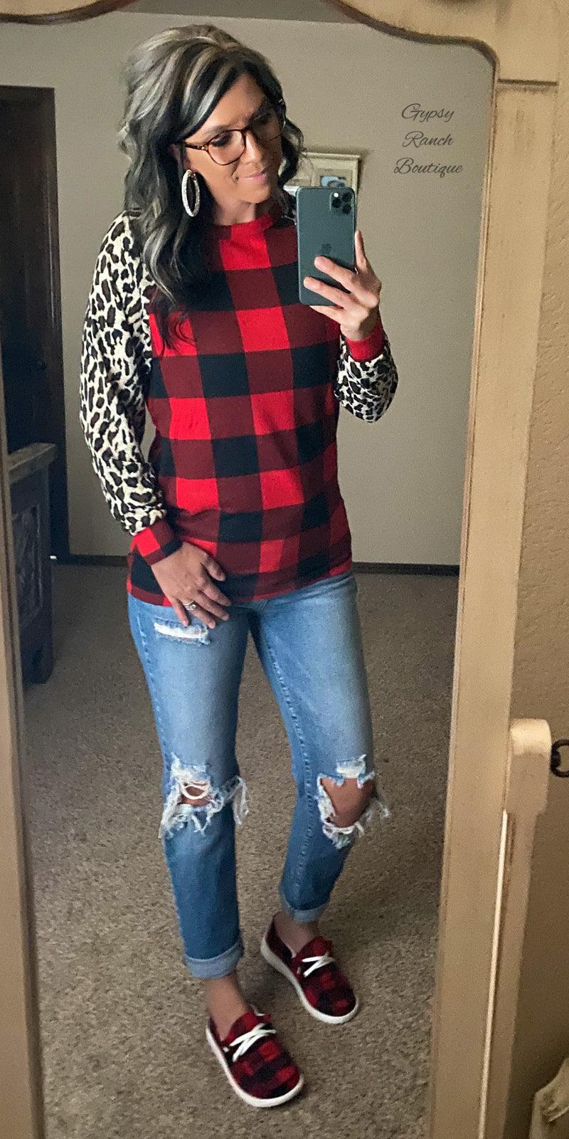 Albany Leopard Buffalo Plaid Top - Also in Plus Size