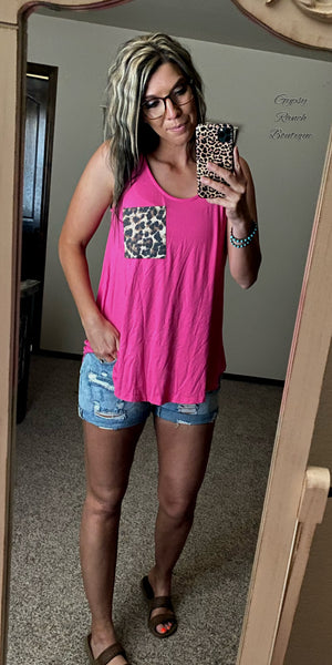 Cicily Fuchsia Leopard Pocket Tank Top - Also in Plus Size
