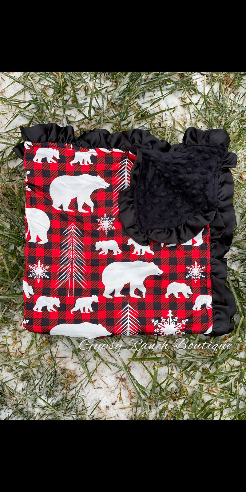 Wildlife Buffalo Plaid Minky Baby Blanket