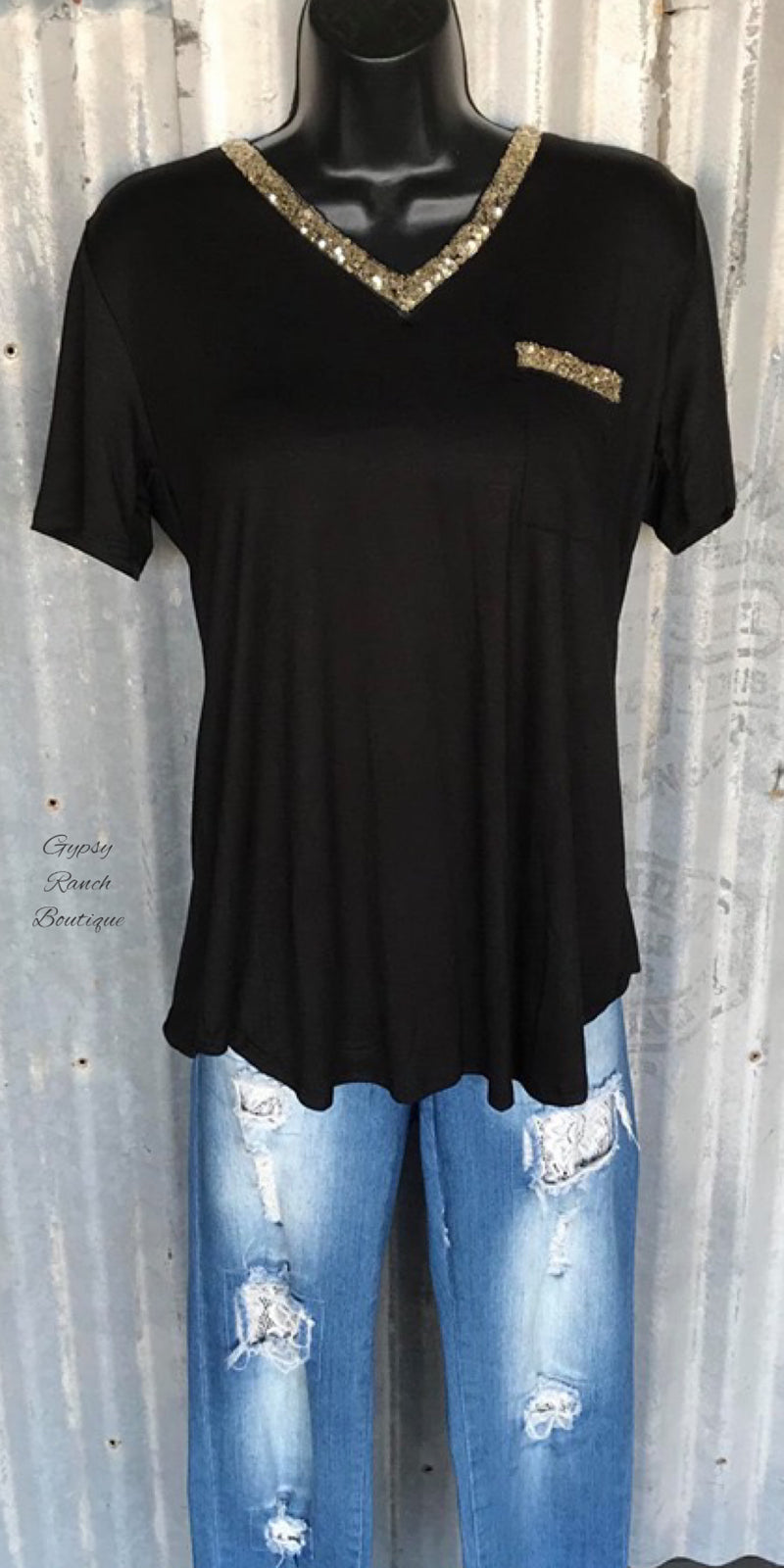 Keep Things Simple Black Sequin Top - Also in Plus Size
