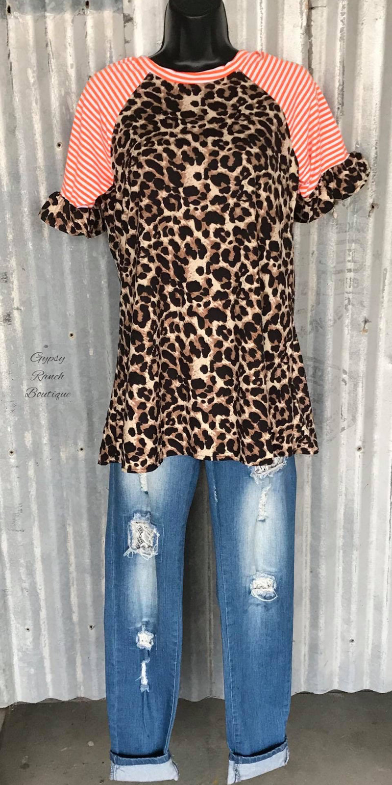 Montana Leopard Stripe Top - Also in Plus Size