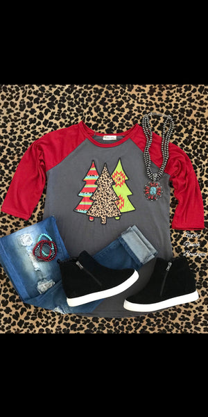Christmas Tree Raglan Top - Also in Plus Size