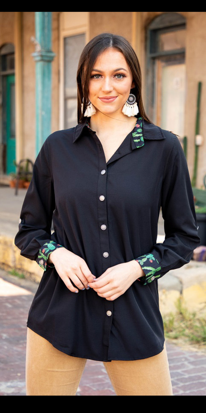 Caliente Cactus Button Up Top  - Also in Plus Size