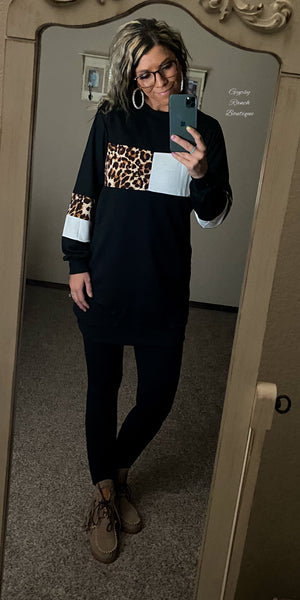 Anaheim Leopard Sweatshirt Dress
