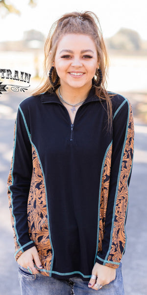 Punchy Pullover Tooled Turquoise Top - Also in Plus Size