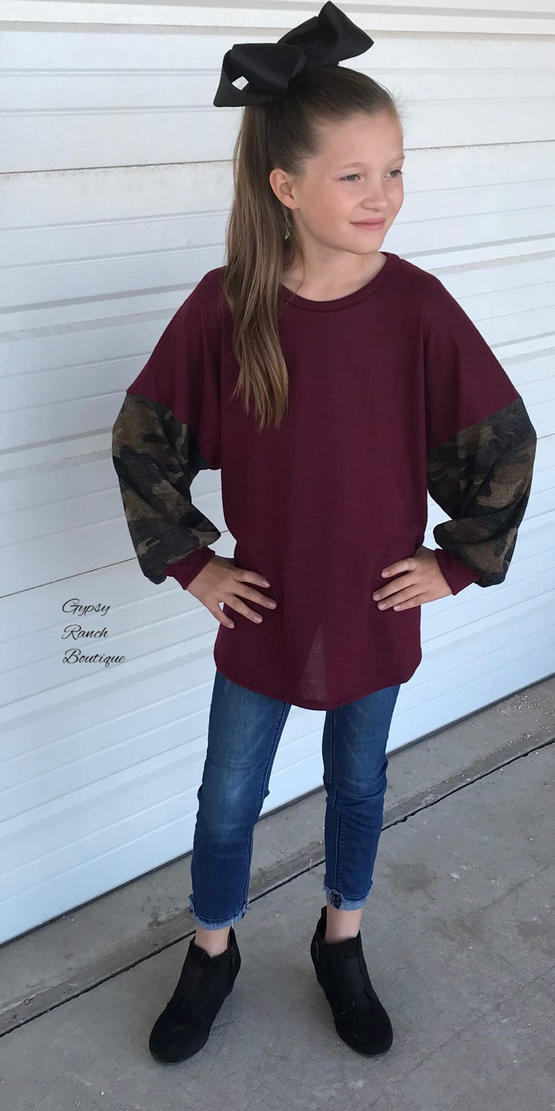Kate Camo Bubble Sleeve Top