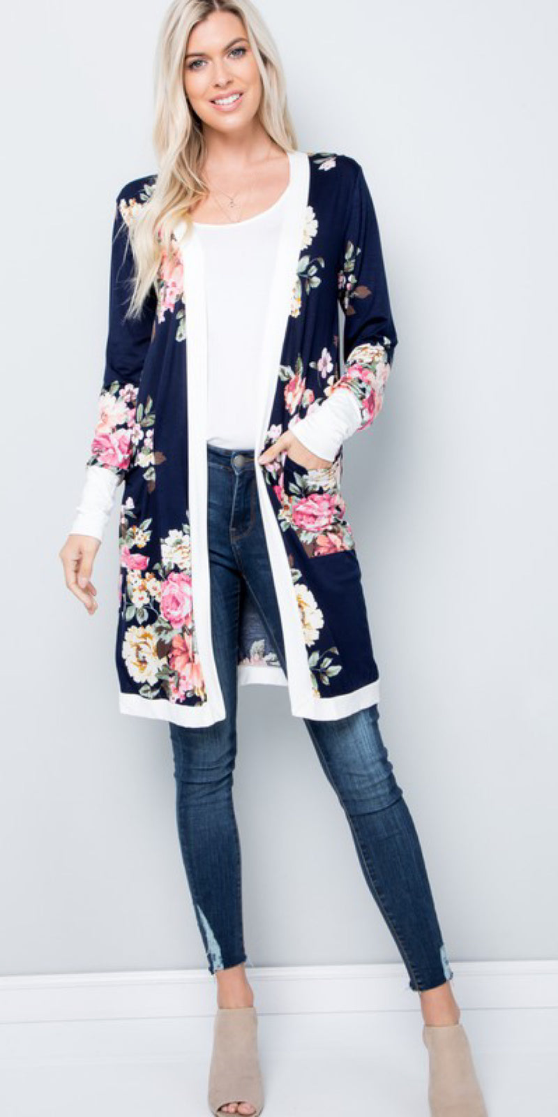 Beckett Navy Floral Cardigan - Also in Plus Size