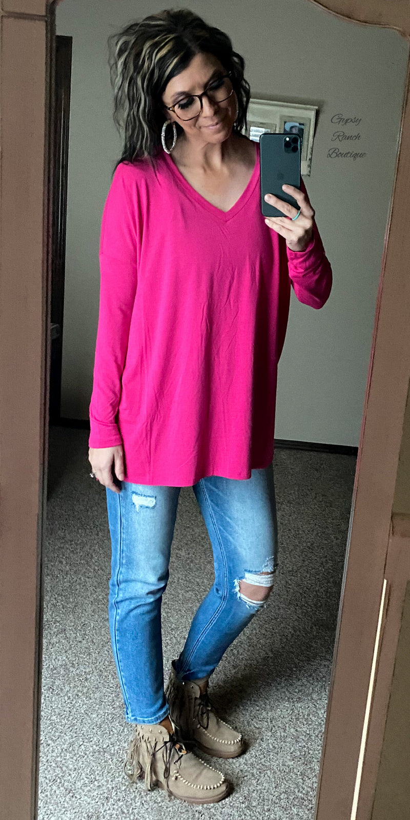 Duncan Hot Pink Tunic Top