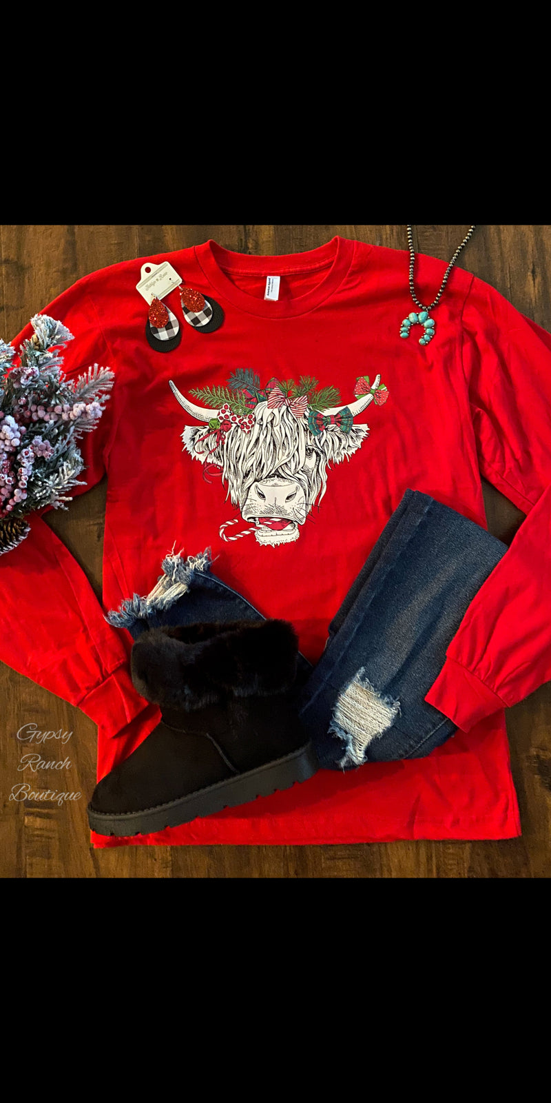 Swanky Cow Christmas Top - Also in Plus Size