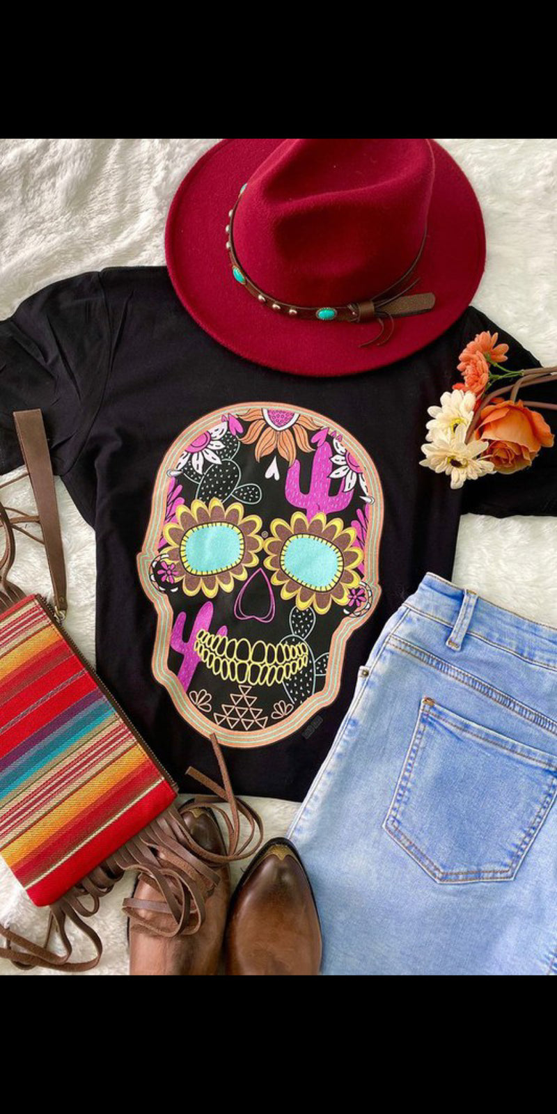 Summer Nights Sugar Skull Top - Also in Plus Size