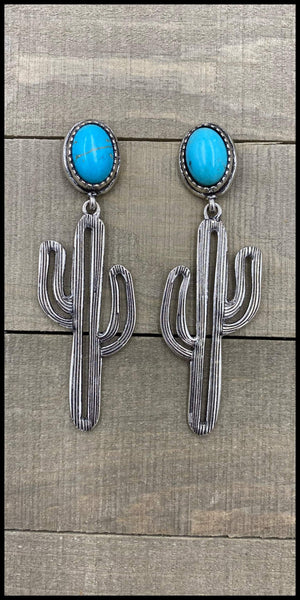 Parker Turquoise Silver Cactus Earrings