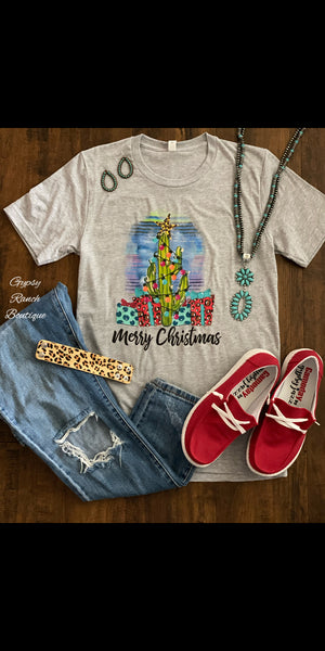 Cactus Christmas Tree Merry Christmas Top - Also in Plus Size