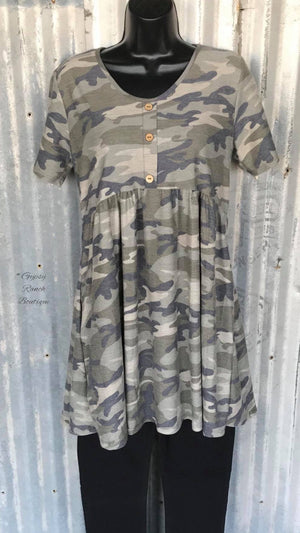 Fire Away Camo Tunic Top - Also in Plus Size