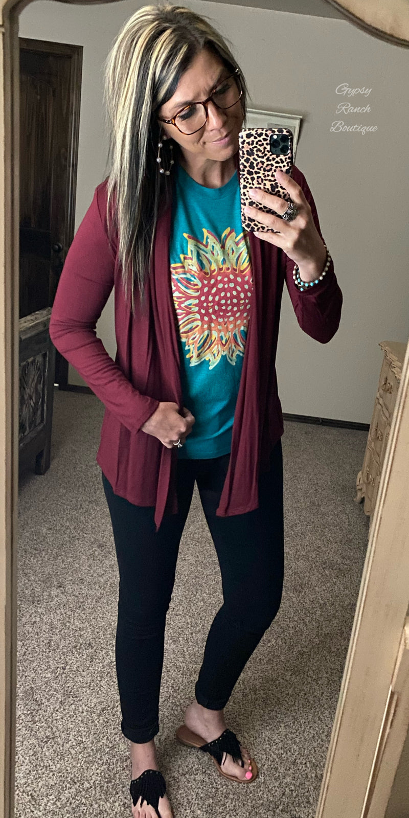 Gunnison Burgundy Cardigan - Also in Plus Size