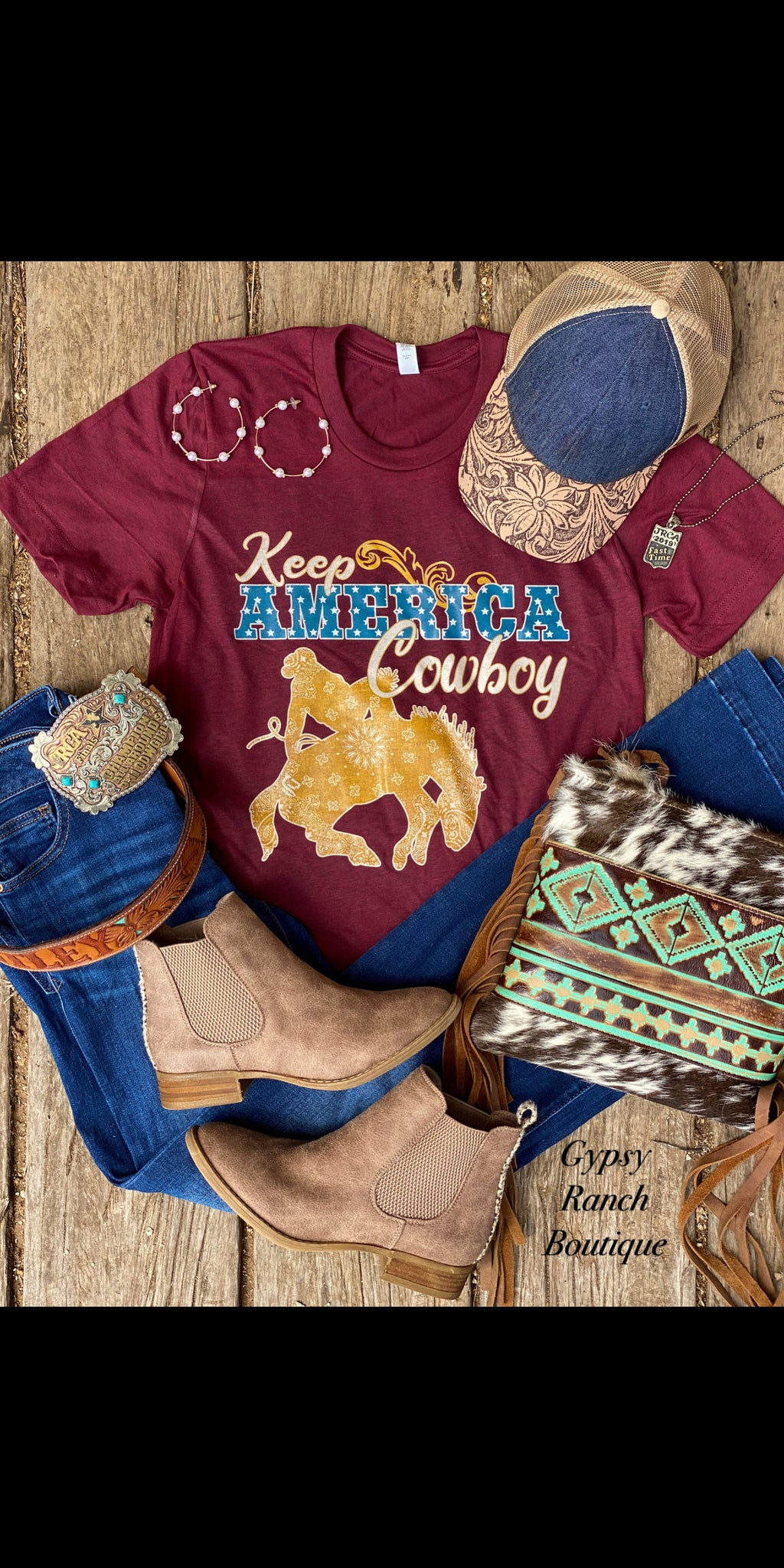 Keep America Cowboy on {Cardinal Burgundy} Top - Also in Plus Size