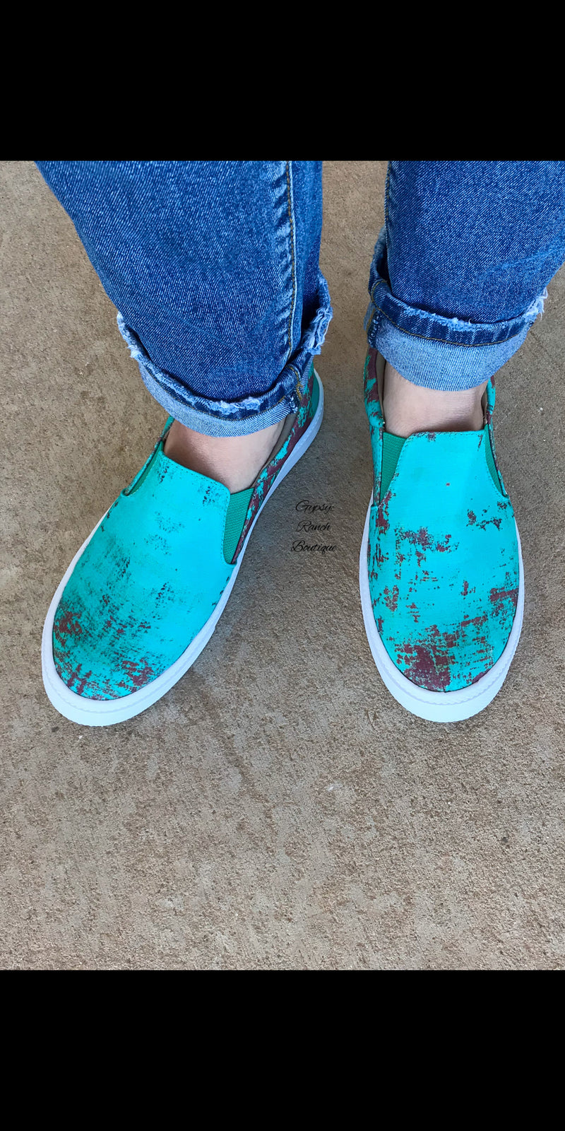 Stockyards Turquoise Patina Slip On Shoes