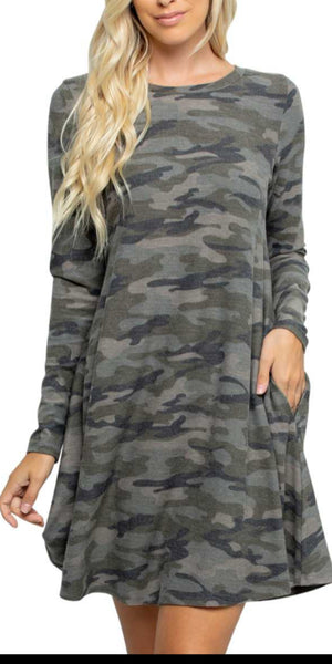 Cash in Camo Dress or Tunic - Also in Plus Size