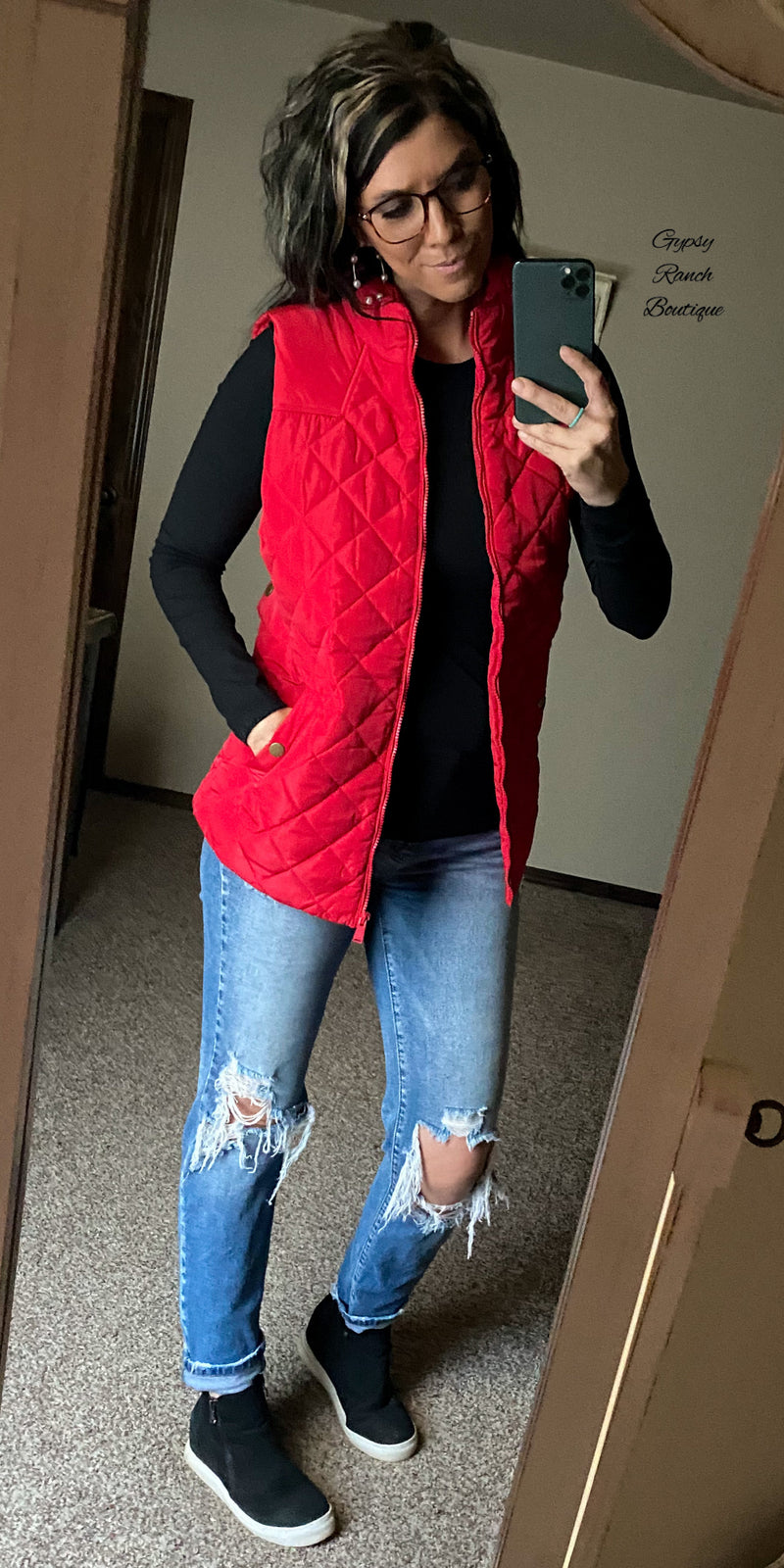 Runaway Sawyer Red Cargo Vest - Also in Plus Size