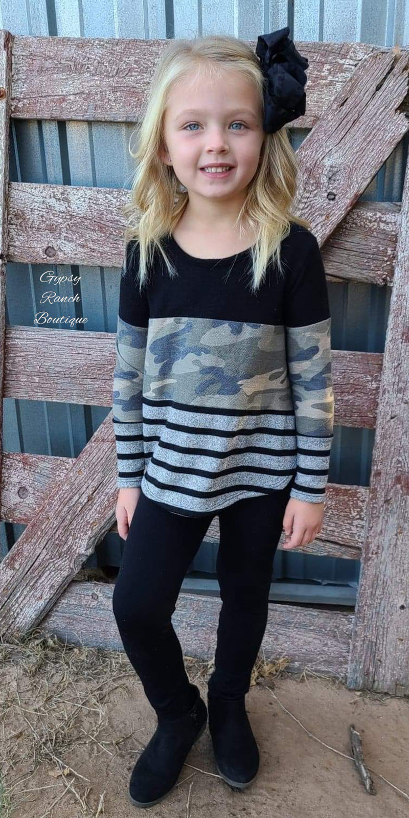 Treylee Camo Stripe Top Kids