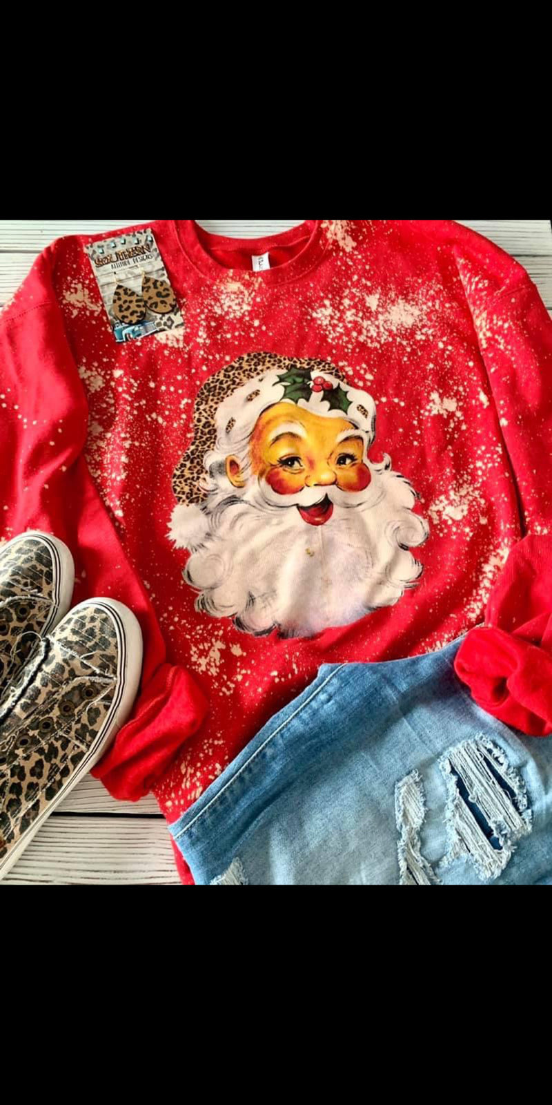 Jolly Santa Leopard Sweatshirt - Also in Plus Size
