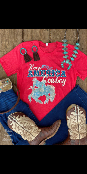 Keep America Cowboy on Red Top - Also in Plus Size