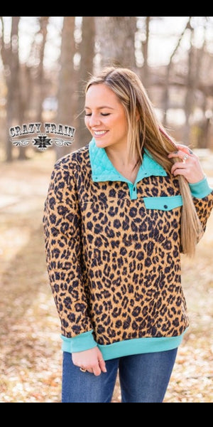 It's A Southern Thang Leopard Turquoise Pullover - Also in Plus Size