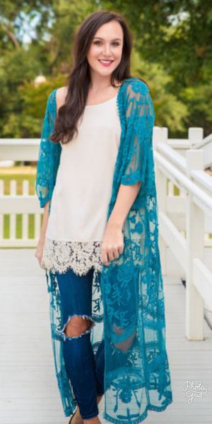 Wrapped Around Your Finger Teal Lace Kimono - Also in Plus Size