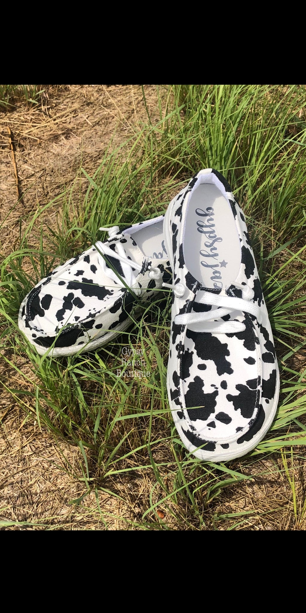 Gypsy Jazz Cow Print Slip On Shoes