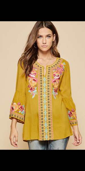 Chaynee Mustard Embroidered Top