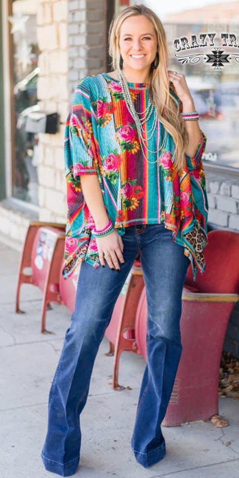 All In One Serape & Leopard Reversible Poncho Top - Also in Plus Size