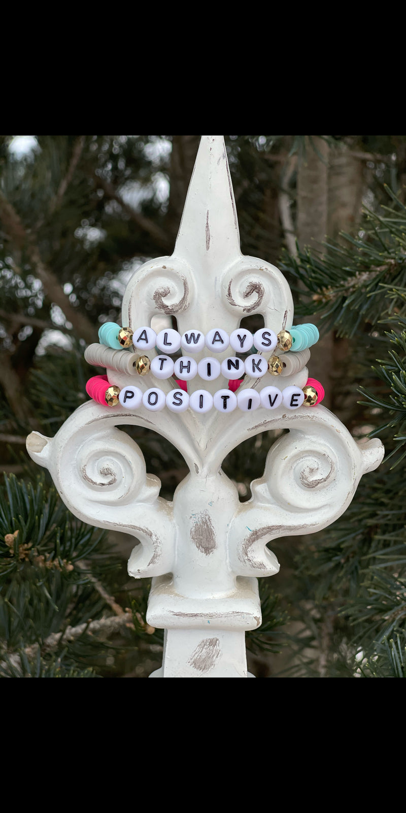 Always Think Positive Disc Bracelet Set of 3