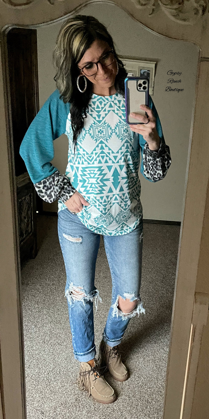 Eden Aztec Leopard Top - Also in Plus Size