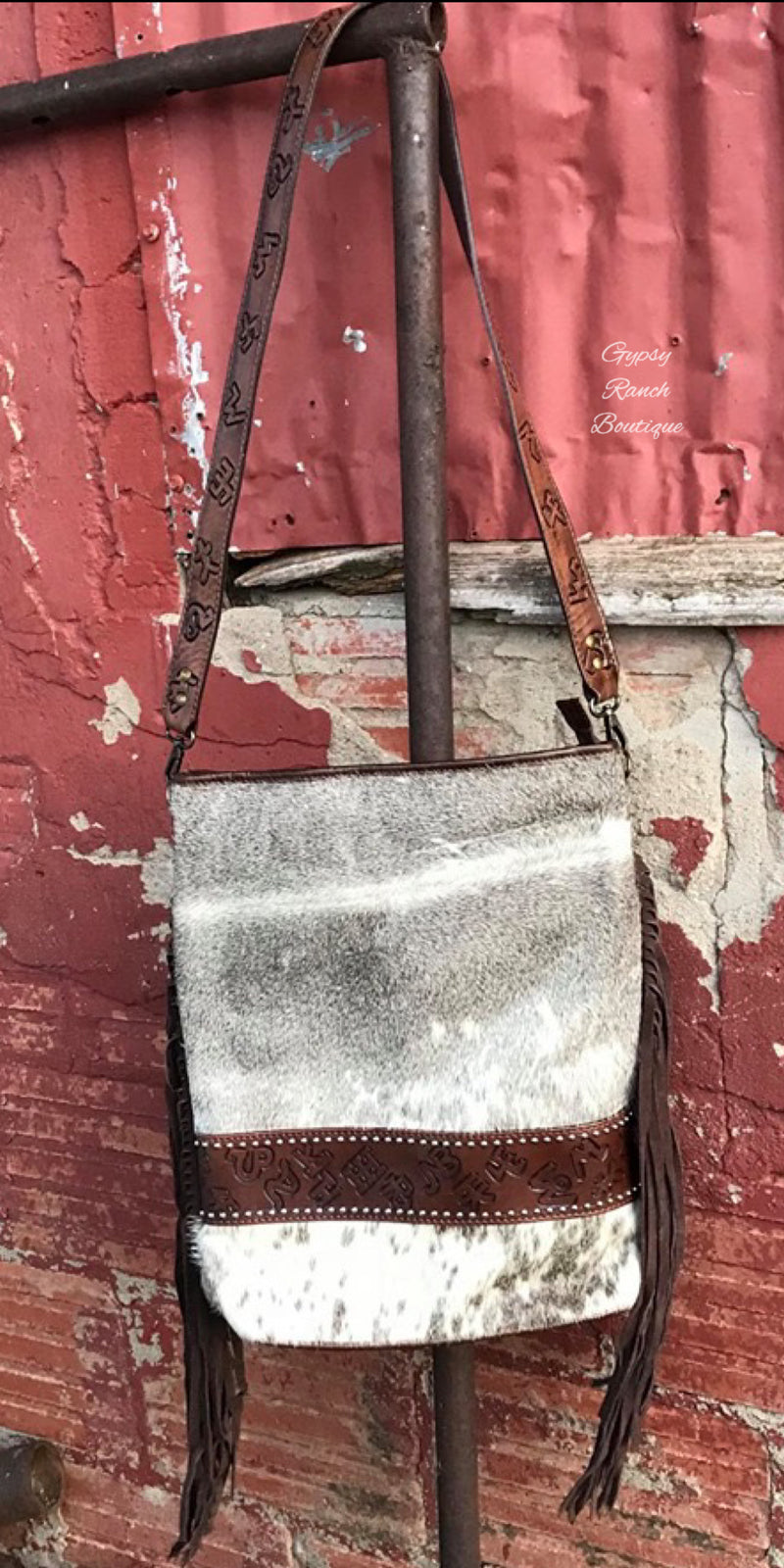 Beckett Cowhide Brand Leather Fringe Concealed Carry Purse Bag