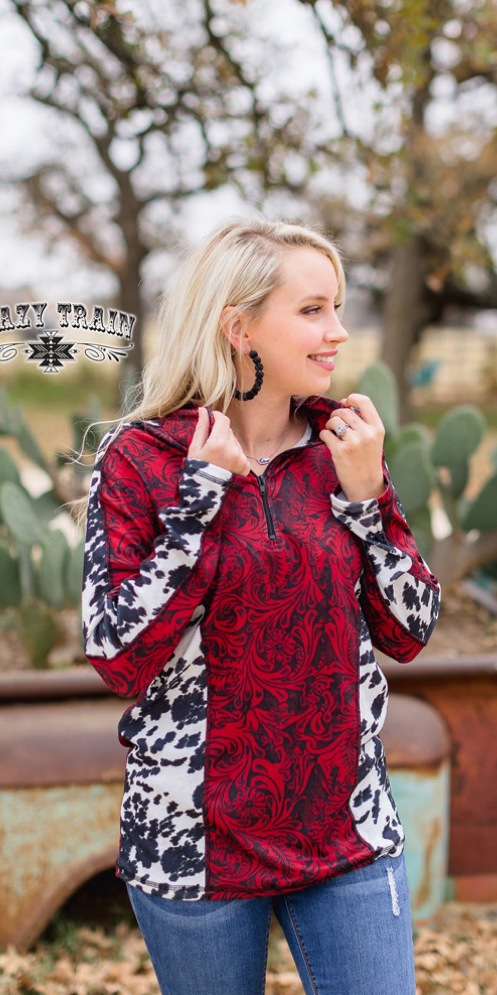 Wild West Pullover Tooled Red Top - Also in Plus Size