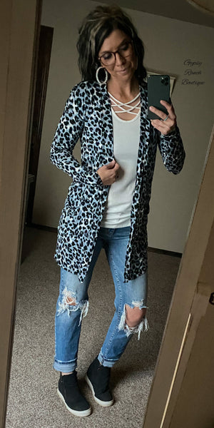 Greeley Leopard Grey Cardigan - Also in Plus Size