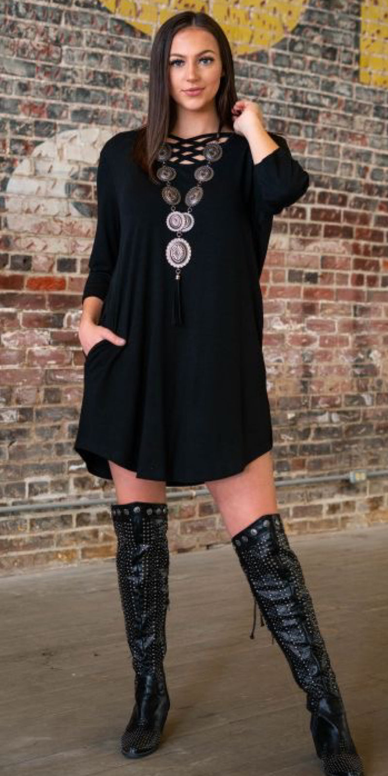 McLean Black Criss Cross Tunic Dress - Also in Plus Size
