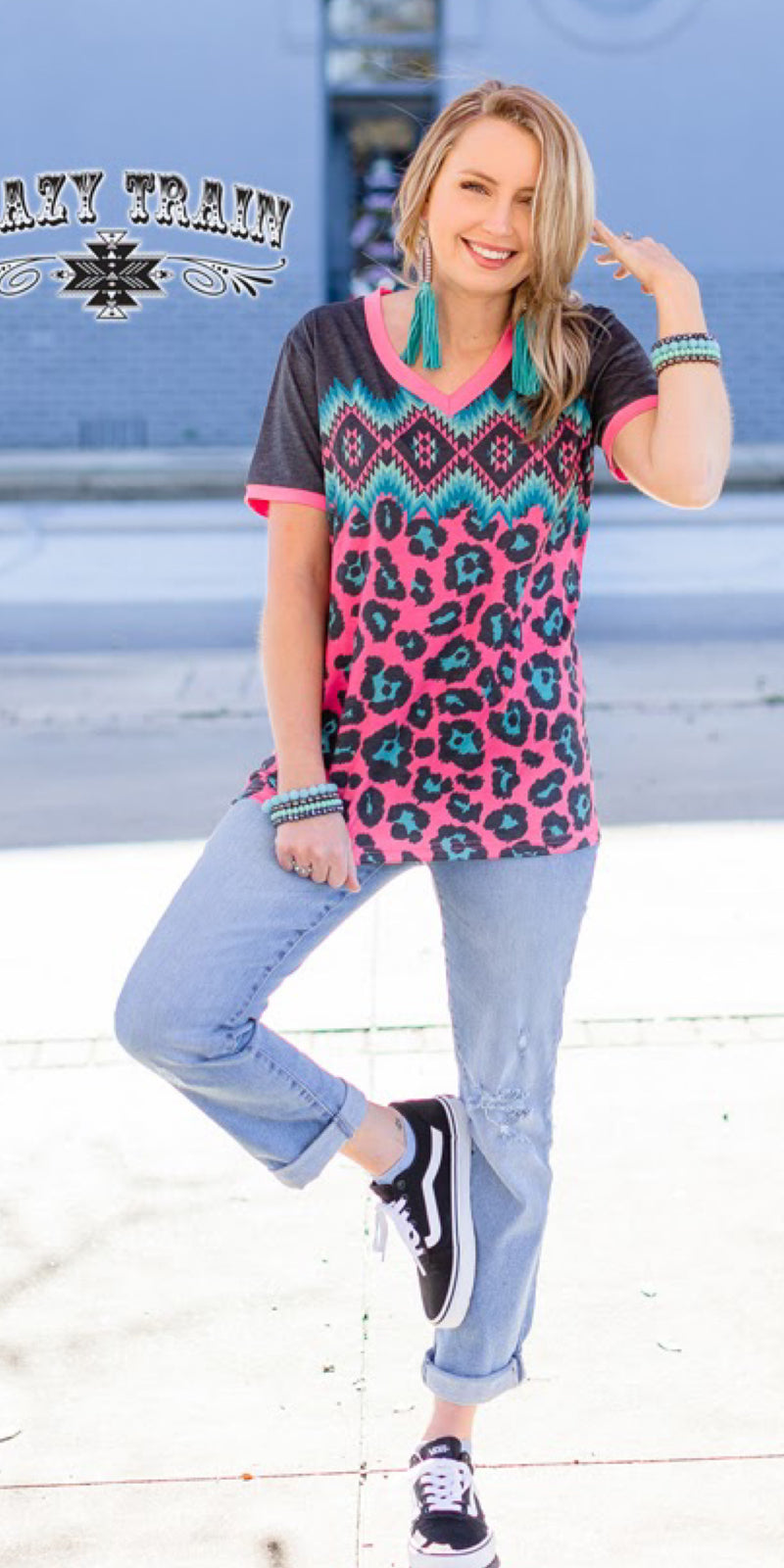 Outlaw Love Aztec Leopard Top - Also in Plus Size