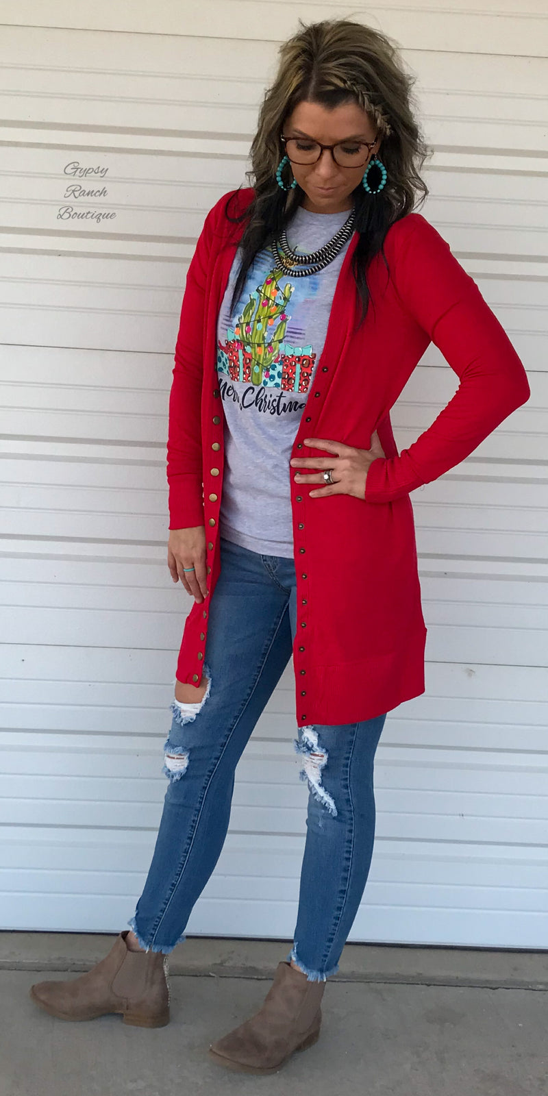 Breland Red Snap Cardigan - Also in Plus Size