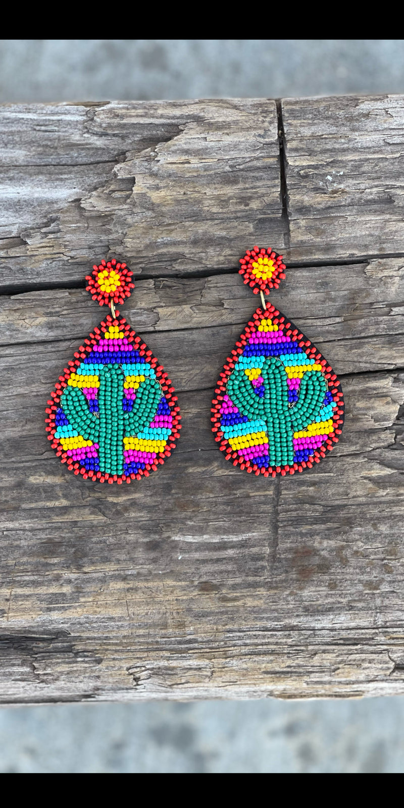 My Kind of Cactus Beaded Earrings