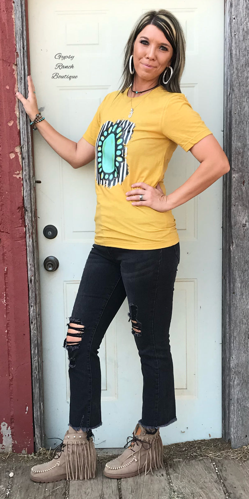 Mustard Striped Squash Top - Also in Plus Size