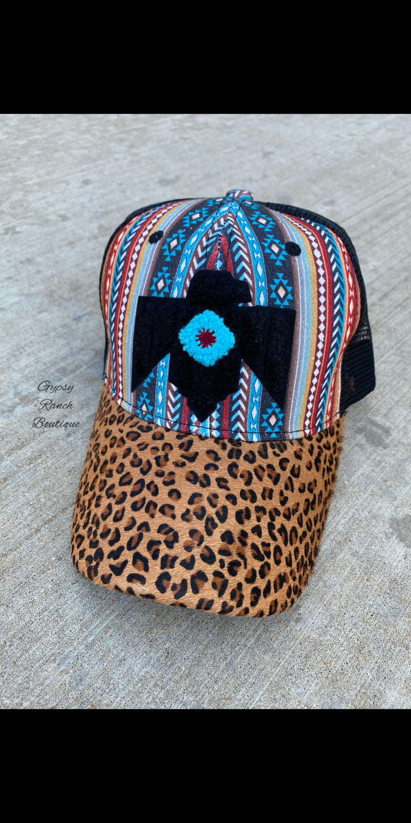 Serape Thunderbird Leopard Hair on Hide Cap