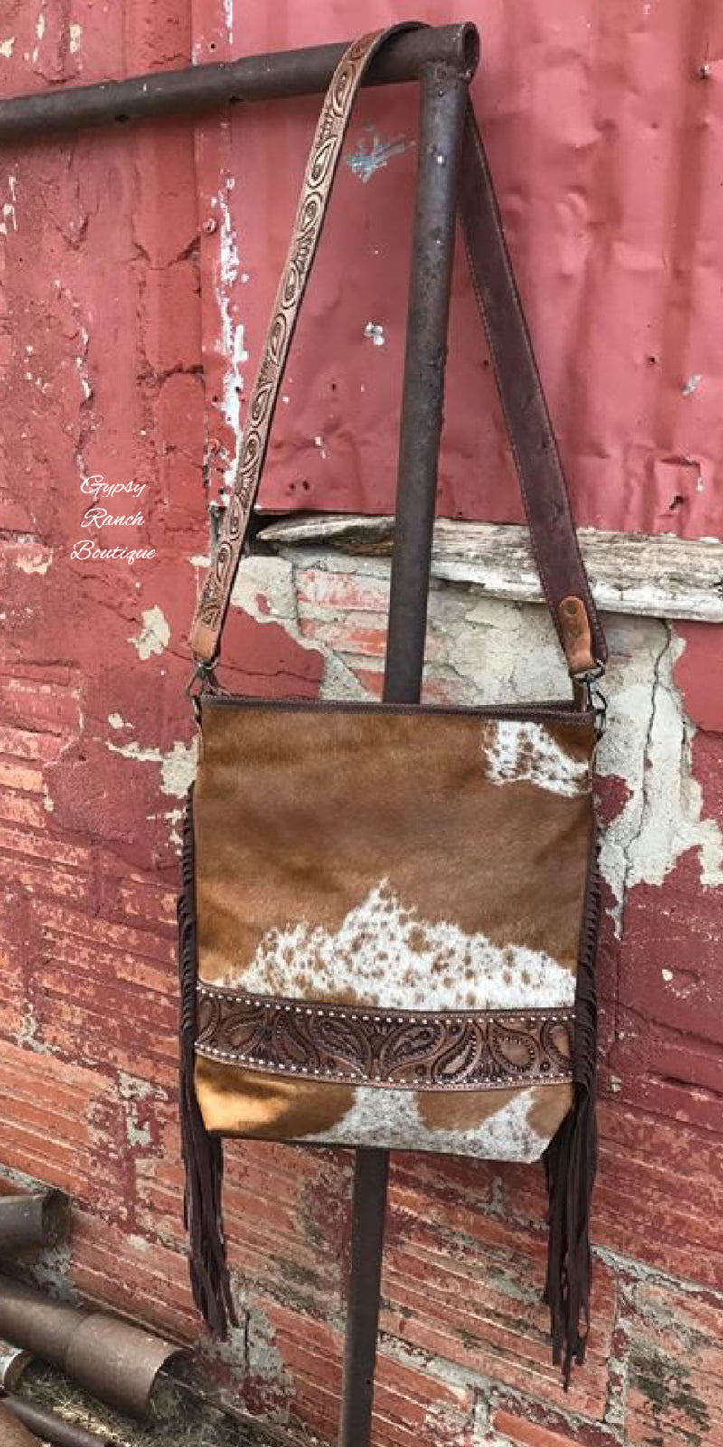 Brenham Cowhide Paisley Leather Fringe Concealed Carry Purse Bag