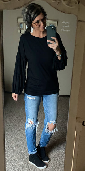 Black Tiered Bubble Sleeve Top