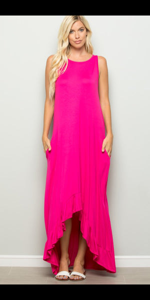 Karson Hot Pink Maxi Dress