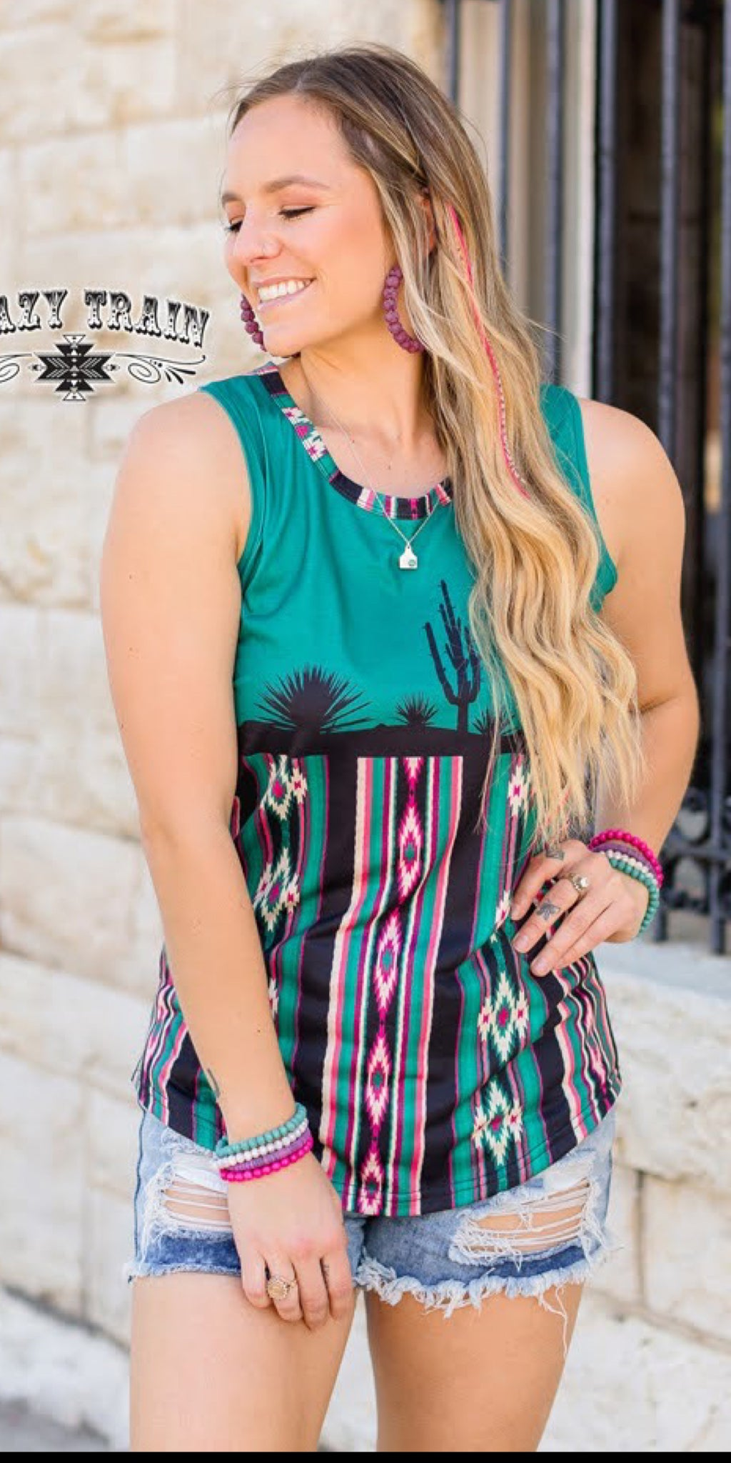 Caliente Cacti Serape Tank Top - Also in Plus Size