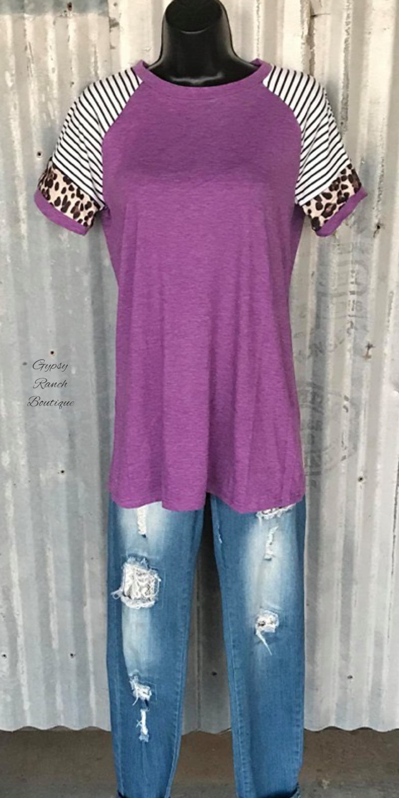 Artesia Sky Purple Leopard Top - Also in Plus Size