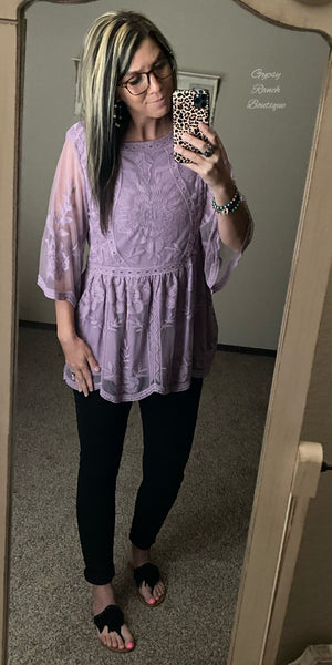 Shanna Lavender Lace Top