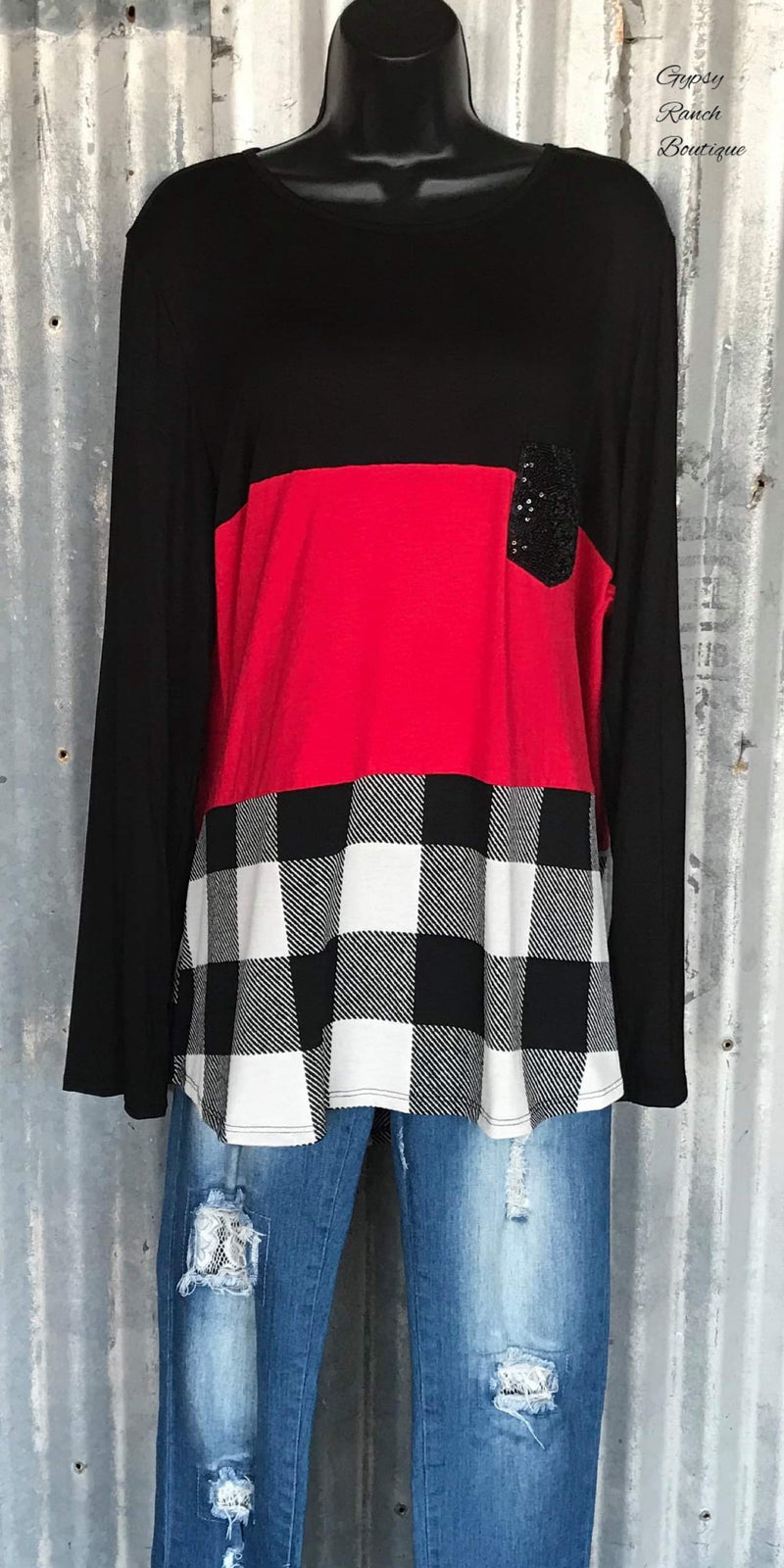 Lane Red & Black Buffalo Top - Also in Plus Size