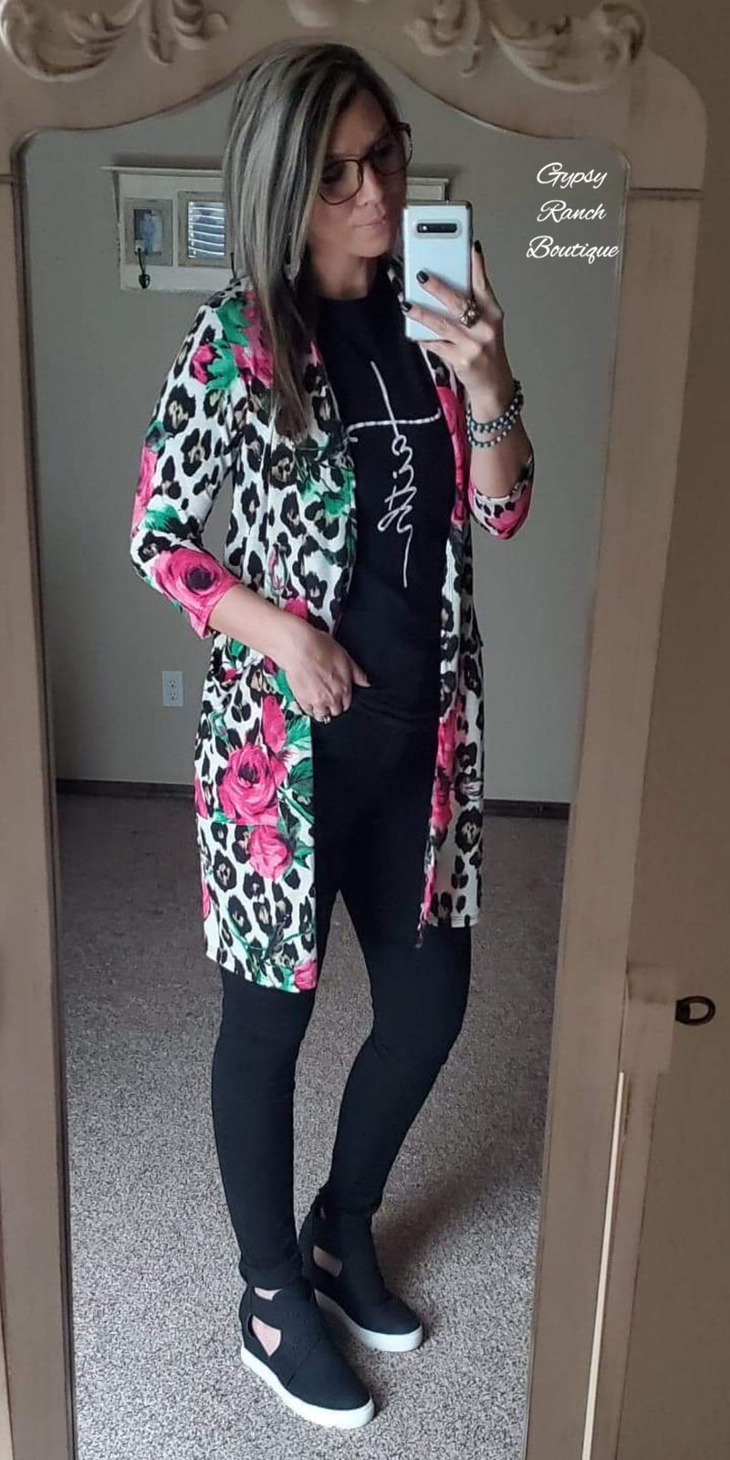 Park Valley Leopard Floral Cardigan  - Also in Plus Size